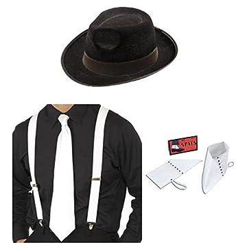 Sombrero de Gangster, blanco tirantes, corbata y polainas disfraz ...
