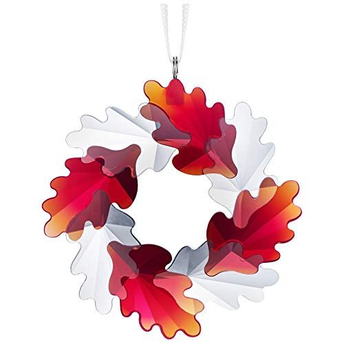 SWAROVSKI Wreath Ornament, Leaves Christmas Collectible, Clear