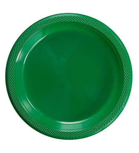 Exquisite 7 Inch. - Emerald Green Plastic Plates for Parties Dinners Desserts and More - Solid Color Disposable Plates - 50 Count -