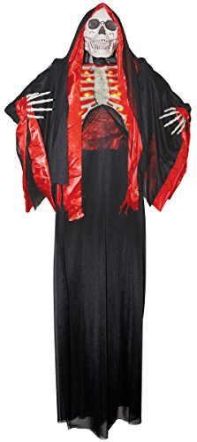 Angel Of Death Hanging Prop (Battery Operated Tall Hanging Skeleton Reaper Cloaked Ribs Halloween Prop Decor)