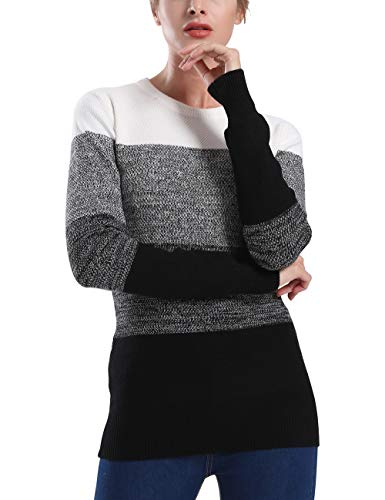 Cashmere Ribbed Crewneck Sweater - Rocorose Women's Ribbed Knit Sweater Crewneck Cashmere Tunic Pullover Grey L