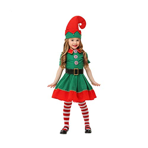 XL- Christmas Clothes, Girls Santa Christmas Costume Green Dress+Hat+Socks Outfit Set Costume (Size : Height: 80cm)