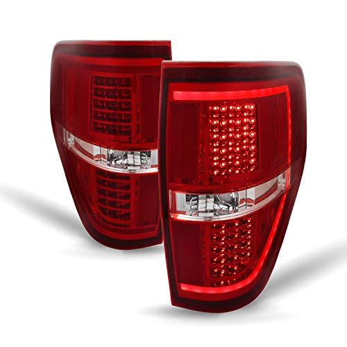 For 2009-2014 Ford F150 Pickup Truck Full LED Red Clear Lens Tail Brake Lights Lamp Left + Right