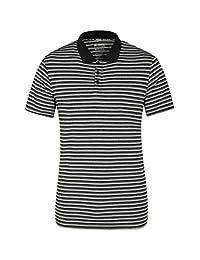 Mountain Warehouse Bounce II Mens Striped Polo Shirt - Spring Top Black Small