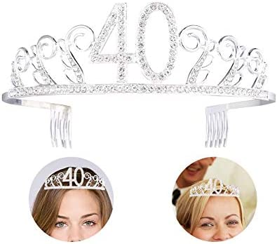 grandnessry Corona cumpleaños 40 años Diadema, Cristal con ...