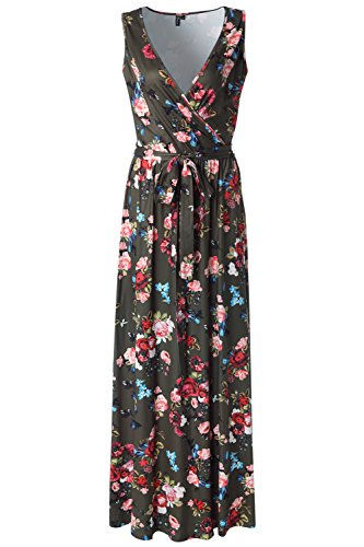 Zattcas Womens V Neck Sleeveless Empire Waist Floral Maxi Dress … (XX-Large, Army Green Printed) - Floral Printed Jersey Dress