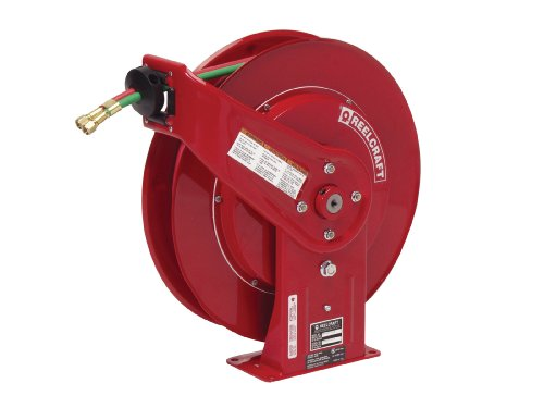 Reelcraft TW7450 OLPT Twin 1/4-Inch by 50-Feet Spring Driven T-Grade Hose Reel for Fuel Gas Welding by Reelcraft