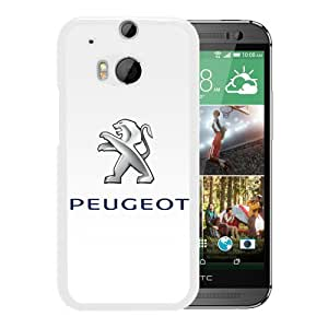 Fashionable Custom Designed Skin Case For HTC ONE M8 With Peugeot logo 1 White Phone Case