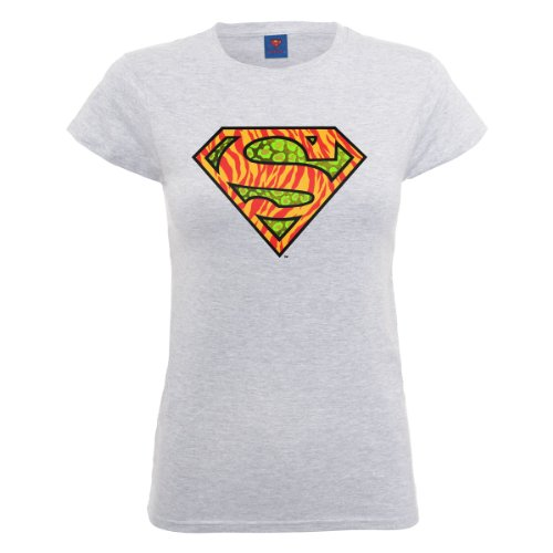 DC Comics Dc Comics Official Superman Wild Logo Womens T-shirt - Camiseta Mujer Gris (Heather Grey)