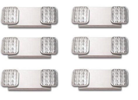 LED Two Head Emergency Light with Battery Back-up White (6 Pack) ()
