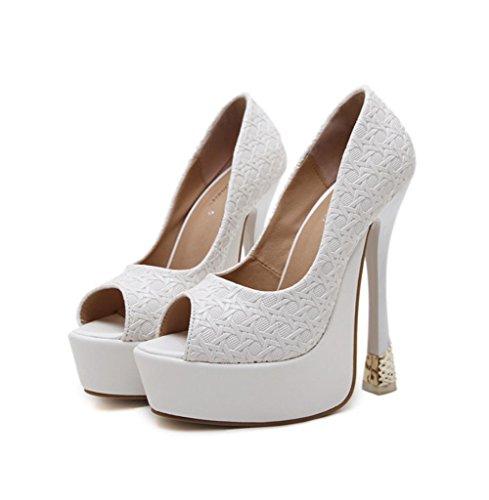 Zapatos PU 5CM de 4 4U® color Bombas Peep de las mujeres Best toe High sólido Sandalias plataforma Blanco 15CM Summer Premium Heels Z0xwg