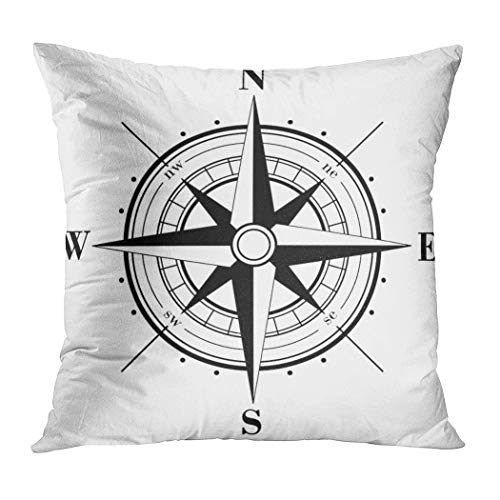 Ortrial Throw Pillow Cover Print Polyester Black Compass Rose Isolated On White Decorative Sofa Bedroom Hidden Zipper Pillowcase Patio Outdoor 20 x 20 Inches -