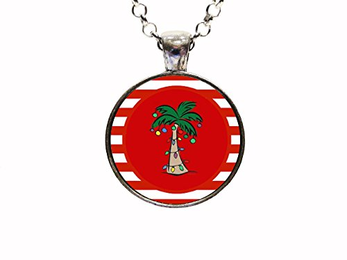 Florida Christmas Palm Tree Pendant Necklace Or Keychain ()