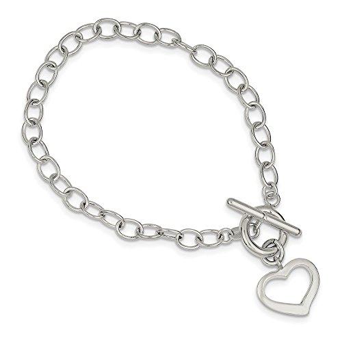 925 Sterling Silver Open Link Heart Bracelet, 7.5