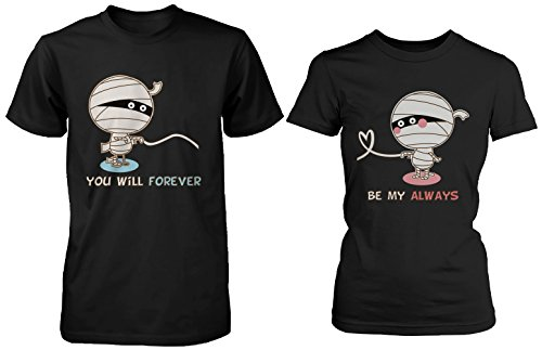 Halloween Couple Shirts - Mummy Shirts for Horror Night ()