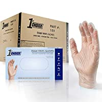 1st Choice Exam Vinyl Gloves - Latex Free, Powder Free, Non-Sterile, Medium, Case of 1000