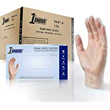 1st Choice Clear Vinyl 3 Mil Thick Disposable Gloves, Large, Case of 1000 - Medical/Exam Grade, Powder-Free