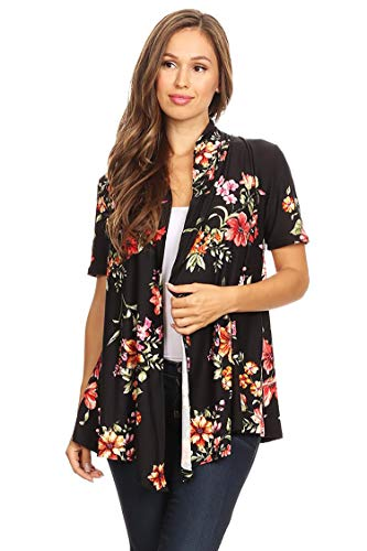 (Solid & Printed Short Sleeves Open Front Draped Cardigan/MADE IN USA Floral Black3 S)
