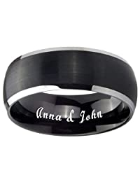 Free Laser Engraving Tungsten Carbide Matte Black Silver Edges Dome Ring 5,8mm Size 4 to 14