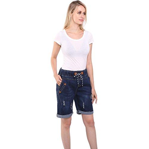 le a Pantaloncini Size Estate Pantaloni donne Plus Group Female Sidiou fori per denim Blu bicchierini Jeans Pantaloni cavallo del diritte Scuro Stretch Slim jeans di 4qfCnAwx