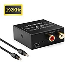 LANGREE DAC Digital Optical Coaxial to Analog Stereo Audio Converter, Digital to Analog Adapter Support 192KHz/24bit with Optical Cable and USB Cable for XBox PS4 Home Cinema Systems AV Amps Apple TV