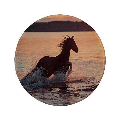 Non-Slip Rubber Round Mouse Pad,Equestrian,Horse Sea at Sunset Time Horizon Speed Exotic Nature Animal Picture Art,Salmon Dark Brown,7.87