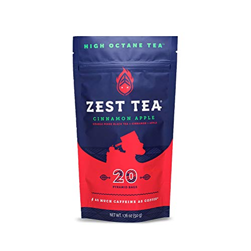 Zest Tea Premium Energy Hot Tea, High Caffeine Blend Natural and Healthy Traditional Black Coffee Substitute, 150 mg Caffeine per Serving, Apple Cinnamon Black Tea, Pouch of Pouch of 20 Sachet Bags