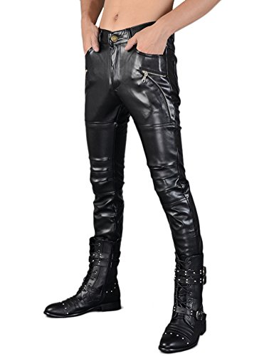 Idopy Men`s Rock Punk Hip Hop Faux Leather Motocycle Pants (30W x 40L, 149# Black) by Idopy (Image #2)