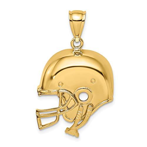 (14k Yellow Gold Football Helmet with Chin Strap Pendant 23x21mm)