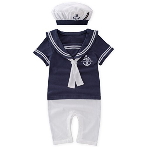 May's Baby Boy Toddler Sailor Marine Short Sleeve Romper +Hat 2pcs Outfit Set