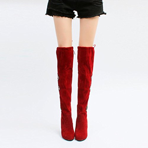 AMA(TM) Women Rose Embroider Thigh High Boots Over The Knee Boot High Heels Shoes Red heBNcO
