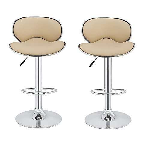 2 x Homegear M0 Cherner Adjustable Swivel Faux Leather Bar Stools Cream (Only Cream Bar Frame Stool)