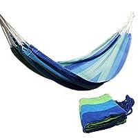 Ludwing Rhyser Lona Hamaca Tela de algodón Viaje Camping Hamaca Una persona (Azul)