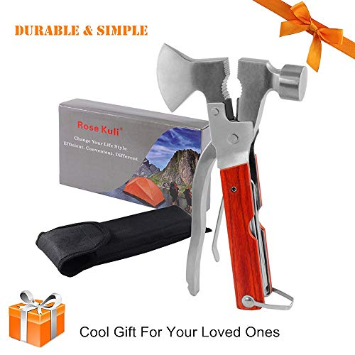 Rose Kuli 7'' Portable Multipurpose Multitool Multifunctional Pocket Mini Tools with Axe Hammer Plier Set Wooden Handle