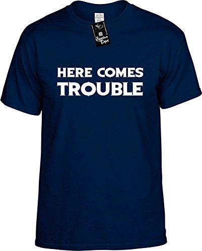 Mens Funny T-Shirt Size L (HERE Comes Trouble) Men's Novelty Unisex Shirt