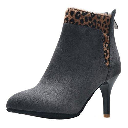 RAZAMAZA Women Winter Stiletto High Heel Ankle Booties Grey aDNuvZrU