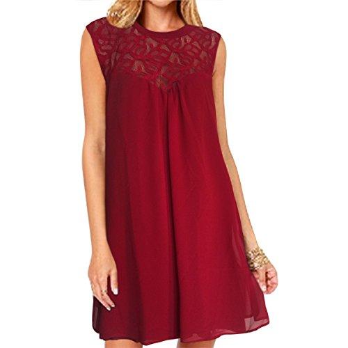 vanberfia Casual Lace O Neck Loose Mini Chiffon Dress (M, 2205)