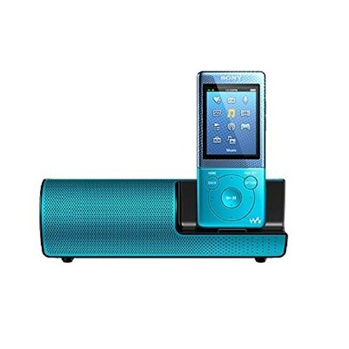 Sony NWZ-E474K E474 8GB MP3 Player and Active Speaker Bundle NWZE474KL BLUE, FM Radio, Voice Recorder