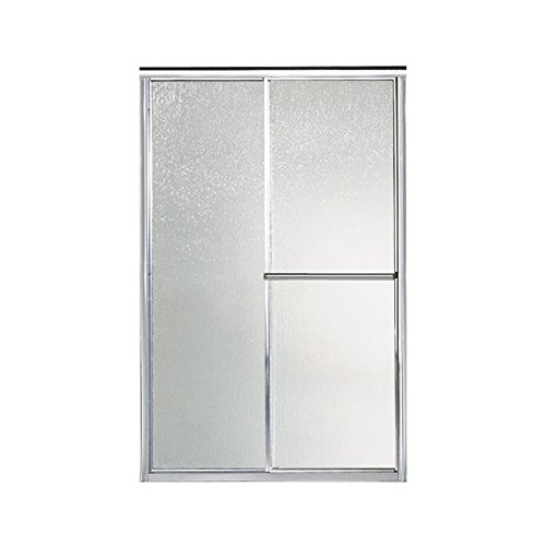 (STERLING 5976-48S Deluxe By-Pass Bath Door, Silver with Rain Texture Glass)