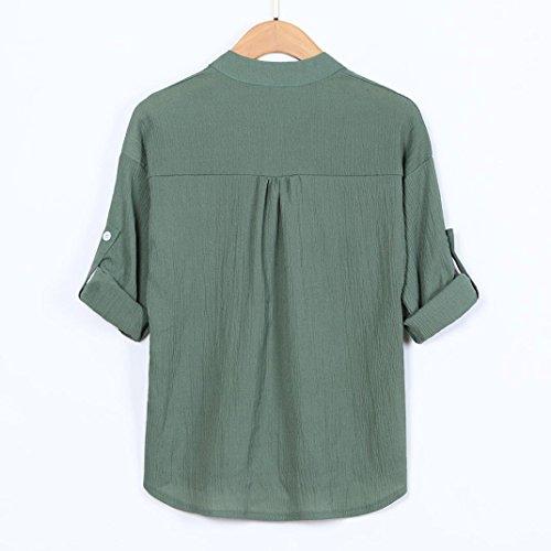 Manches Shirt Vert LULIKA Boutons rtro Chemise Blouse Tee Longues Chic Robe Longue Tonsi SAIgAqf