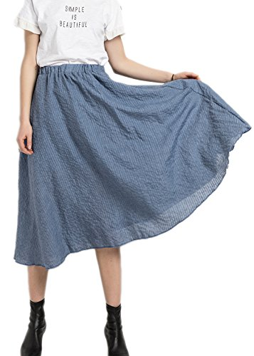 Azue Women's Solid A-Line Wind Flowy High Waisted Casual Half Beach Dress Long Skirts Royal Blue Petit Am I Christmas