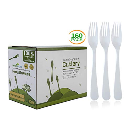 (Biodegradable Compostable Forks, 100% CPLA 160 Pack 7.3 Inch White Disposable Biodegradable Cutlery Set, 8.3 Pounds Heavyweight Durable Eco-Friendly and Heat Resistant Forks)