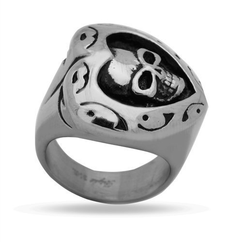 (JewelryVolt Stainless Steel Ring Skull Signet Tattoo Heart Rider Polished & Oxidized Casting (A 11))