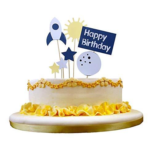 NN-BH Happy Birthday Decoration, Space Theme Cake Topper (Star Rocket)
