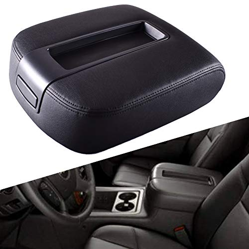 EDBETOS GM Center Console Lid Armrest Cover Kit for 2007-2014 Chevy Avalanche Silverado Chevrolet Suburban Tahoe 2500HD 3500HD GMC Sierra Yukon XL 1500 2500 LT Z71 Replace OEM 15217111,15941534 (Black ()