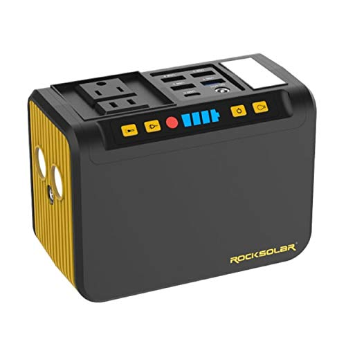 ROCKSOLAR Portable Power Station with LED Flashlight, Lightweight 74Wh Lithium Battery, 80W AC, USB, and DC Output ROCKSOLAR