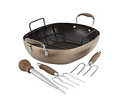 "Anolon 16"" x 13"" Oval Advanced Hard-Anodized Nonstick Roaster Set"