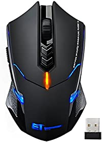 Wireless Mouse, VicTsing Quiet Click 7 Buttons 2.4G Optical USB Cordless Gaming & Office Laptop PC Mouse Ergonomic Mice with Nano Receiver, 5 DPI Adjustable Levels, LED Blue Light, Dual Energy Saving Modes for Windows 7/8/10/XP Vista Linux Mac - Black