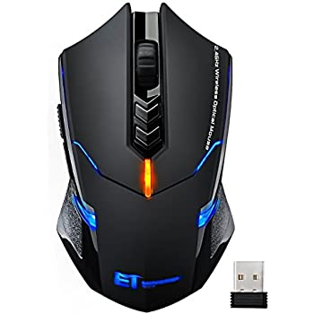 VicTsing Wireless Gaming Mouse with Unique Silent Click, Breathing Backlit, 6 Programmable Buttons, 2400 DPI, Ergonomic Grips, 7 Buttons- Black