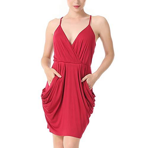 Vestidos Mini Mujeres Cuello Fiesta Sexy Rojo Ladieshow Correa Alto V Bolsillos Club Cintura Verano Espaguetis Profundo Cóctel Ajustable con F6qZp6x